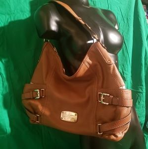 Michael Kors Tan Pebbled Leather Hobo with Buckles